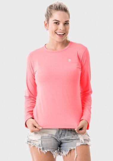 feminia t shirt longa pêssego frente c