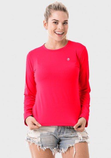 camisa uv feminina newdry com protecao solar manga curta extreme uv coral neon curta c