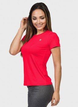 camisa uv feminina new dry com protecao solar manga curta extreme uv coral neon lateral c