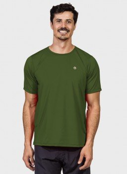 camisa uv masculina ice protecao solar manga curta extreme uv verde militar c n