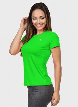 camisa uv feminina new dry com protecao solar manga curta extreme uv verde fluor lateral c