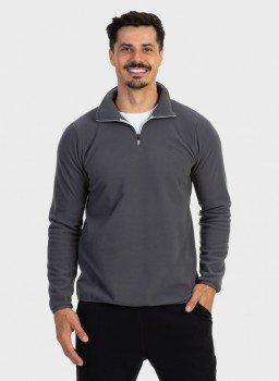 casaco fleece masculino gola alta thermo softextreme uv cinza frente c