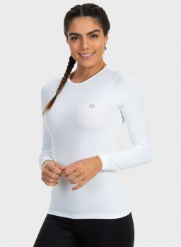 camisa segunda pele termica com protecao solar extreme uv feminina branca lateral c
