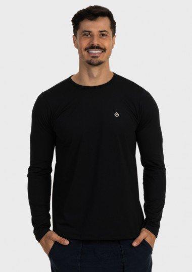 camisa masculina termica leve para frio extreme uv preta frente c