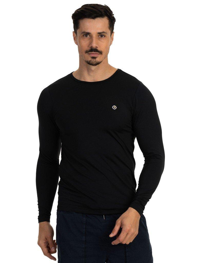 camisa segunda pele termica com protecao solar extreme uv masculina preta lateral b n