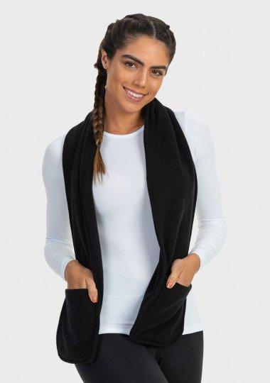 cachecol feminino fleece com bolso extreme uv preto c