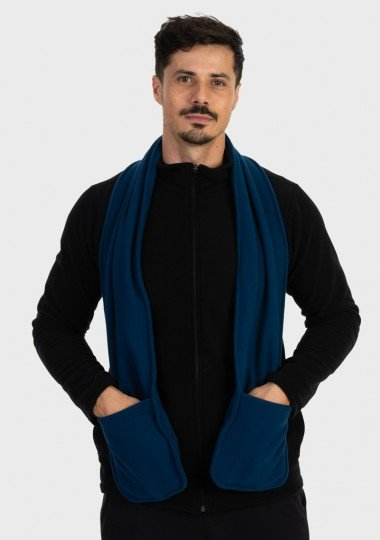 cachecol fleece com bolso masculino extreme uv azul c