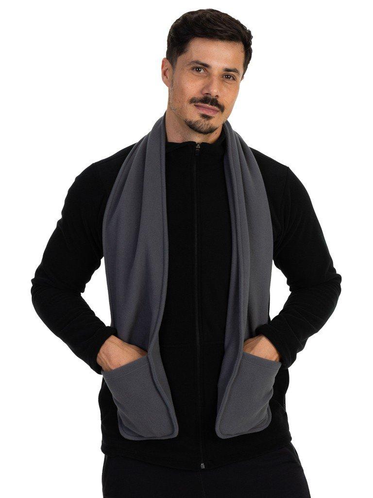 cachecol fleece com bolso masculino extreme uv cinza b