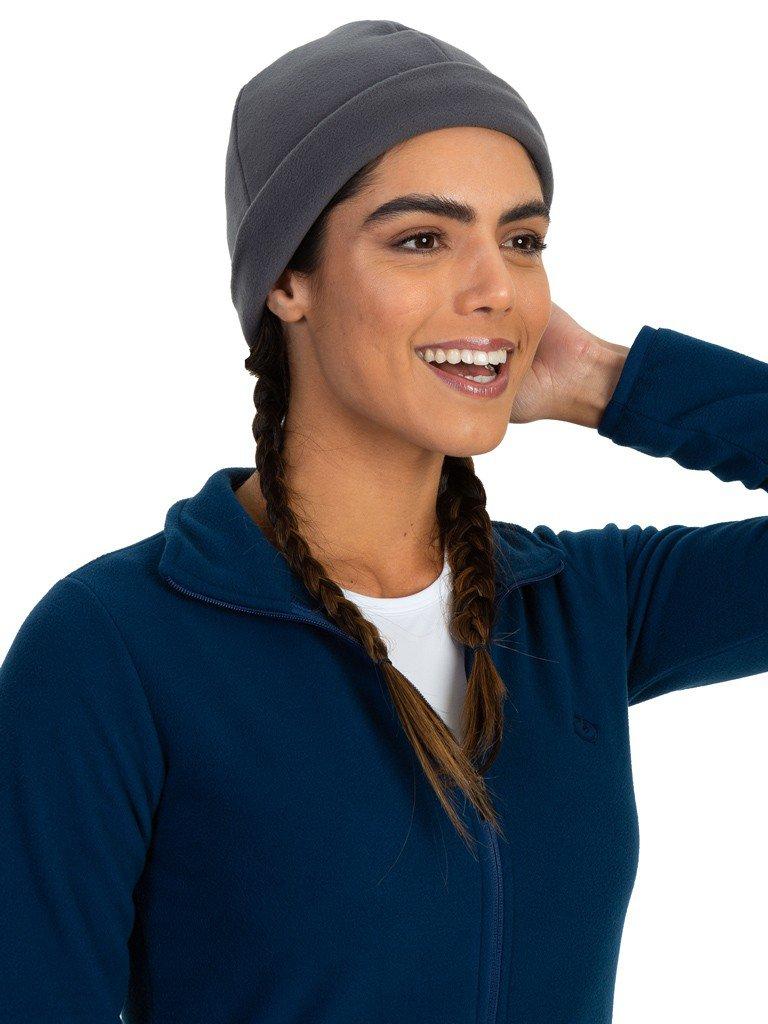 gorro touca fleece para frio feminino extreme uv cinza frente b