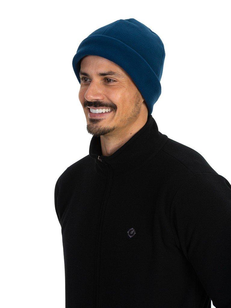 gorro touca fleece para frio extreme uv azul lateral b