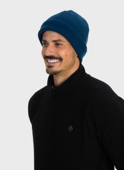 gorro touca fleece para frio extreme uv azul lateral c
