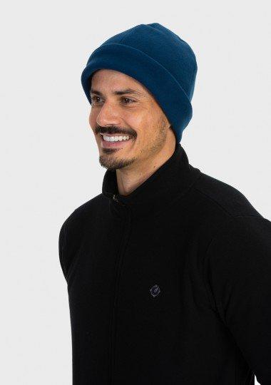 gorro touca fleece para frio extreme uv azul lateral c