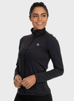 jaqueta termica para frio com bolso feminina extreme uv preta lateral c