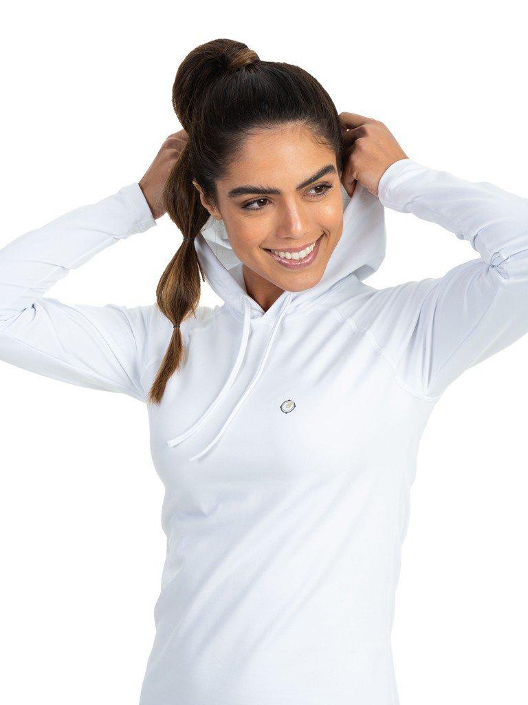 camisa uv termica para frio com capuz feminina extreme uv branca detalhe b