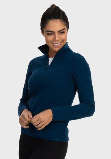 casac fleece feminino gola alta thermo soft extreme uv azul lateral c