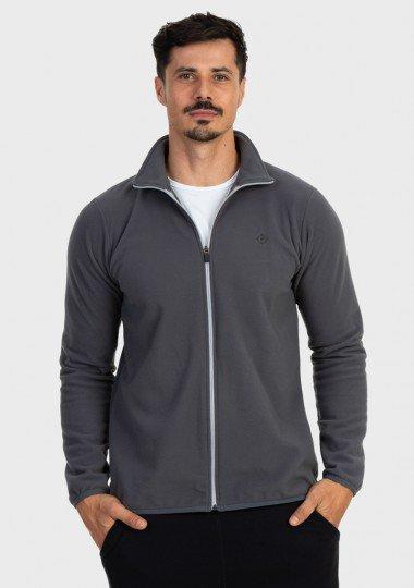 casaco fleece masculino gola alta thermo soft extreme uv cinza frente c