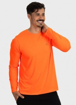 camisa masculina basic dry com protecao solar manga longa extreme uv laranja fluor lateral b n