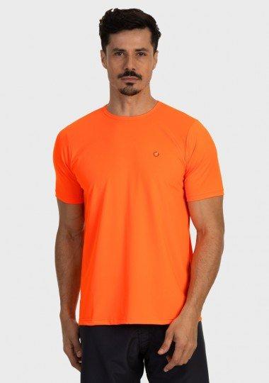 camiseta basic masculina com protecao solar manga curta extreme uv new dry laranja fluor frente c n