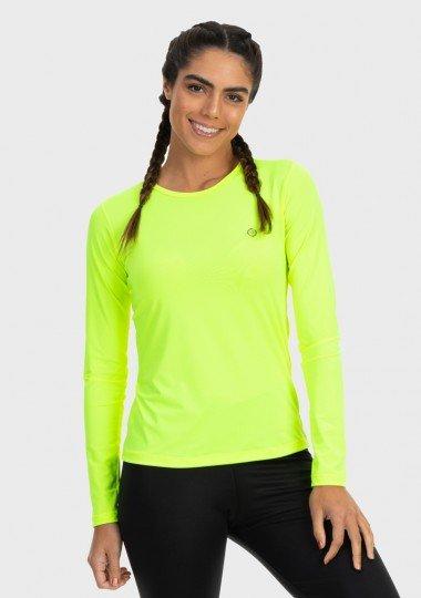 camisa uv feminina basic dry com protecao solar manga longa extreme uv amarelo fuor frente n c