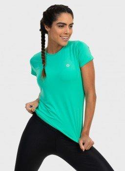 camisa uv feminina nd com protecao solar manga curta extreme uv verde menta frente c n
