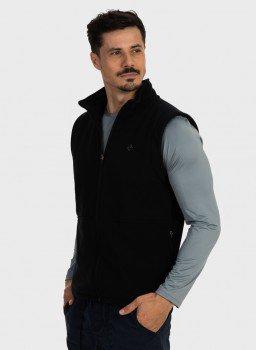 colete masculino fleece preto lateral c n