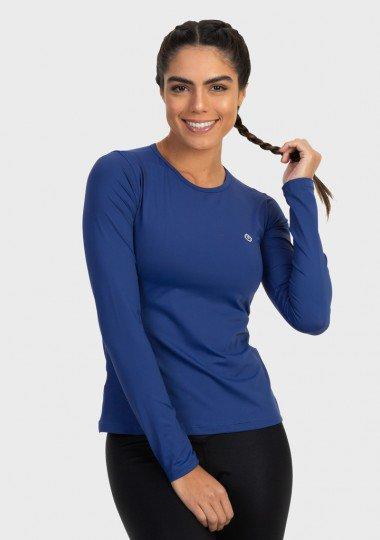 feminina t shirt longa ice azul marinho frente c n