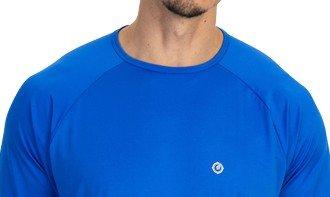 camisa masculina raglan gola redonda longa dry azul frente