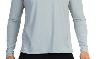 camisa masculina raglan gola redonda longa dry cinza frente