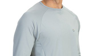 camisa masculina raglan gola redonda longa dry cinza detalhe