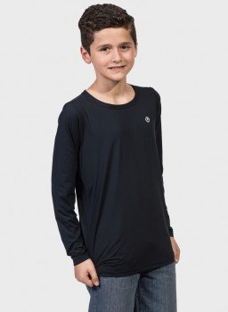 camisa uv infantil masculina termica manga longa com protecao solar extreme uv preta lateral c