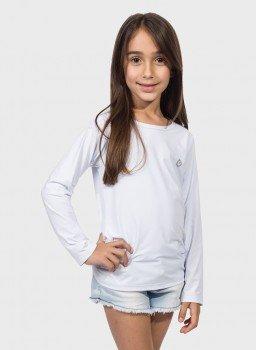camisa uv infantil feminina termica manga longa com protecao solar extreme uv branca frente c
