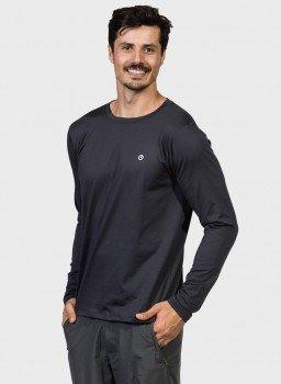 camiseta uv algodao egipcio premium protecao solar manga longa masculina extreme uv preta lat c