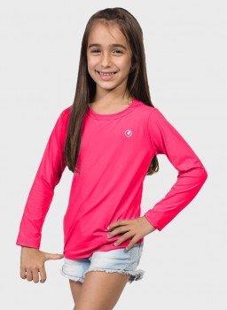 camisa uv infantil feminina new dry manga longa com protecao solar extreme uv rosa neon frente c