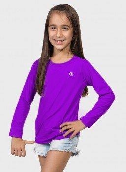 camisa uv infantil feminina new dry manga longa com protecao solar extreme uv roxa frente c