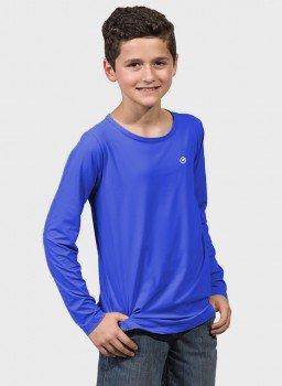 camisa uv infantil masculina new dry manga longa com protecao solar extreme uv azul frente c